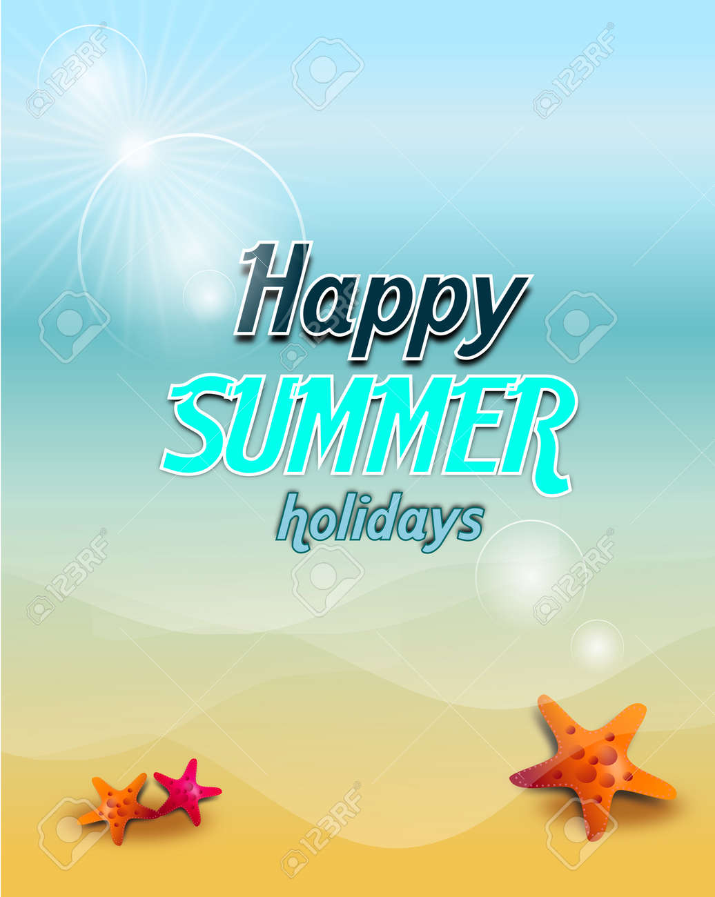 Illustration Of Vertical Summer Background With Greeting To Happy Holidays Standard Bild