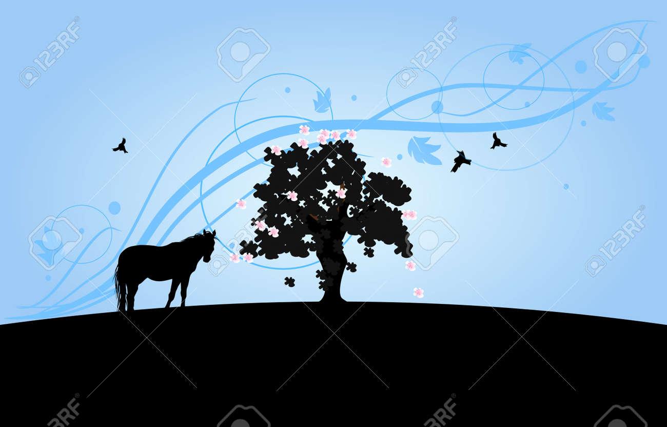 馬と光の青い装飾背景と大きな木のシルエット壁紙します の写真素材 画像素材 Image