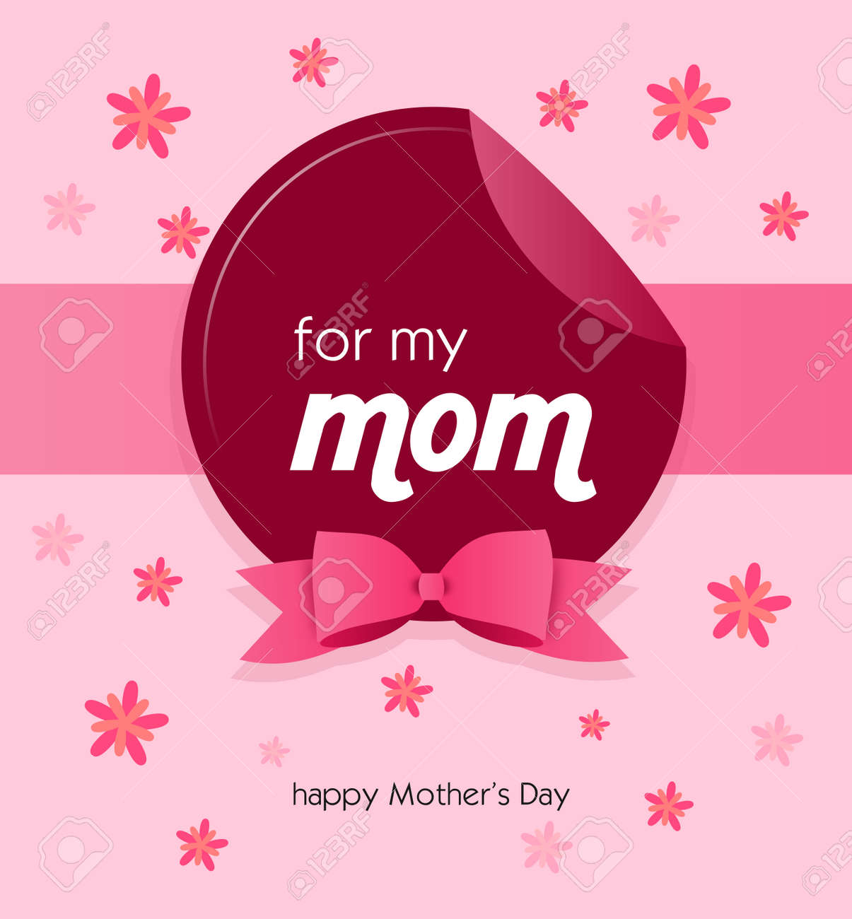 Pink greeting card to happy mothers day with pink ribbon stock pink greeting card to happy mothers day with pink ribbon stock photo 57822882 m4hsunfo