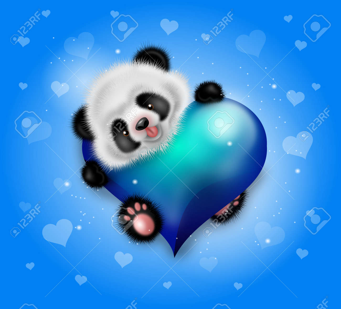 Illustration Of Cute Panda Bear With Blue Heart On Background