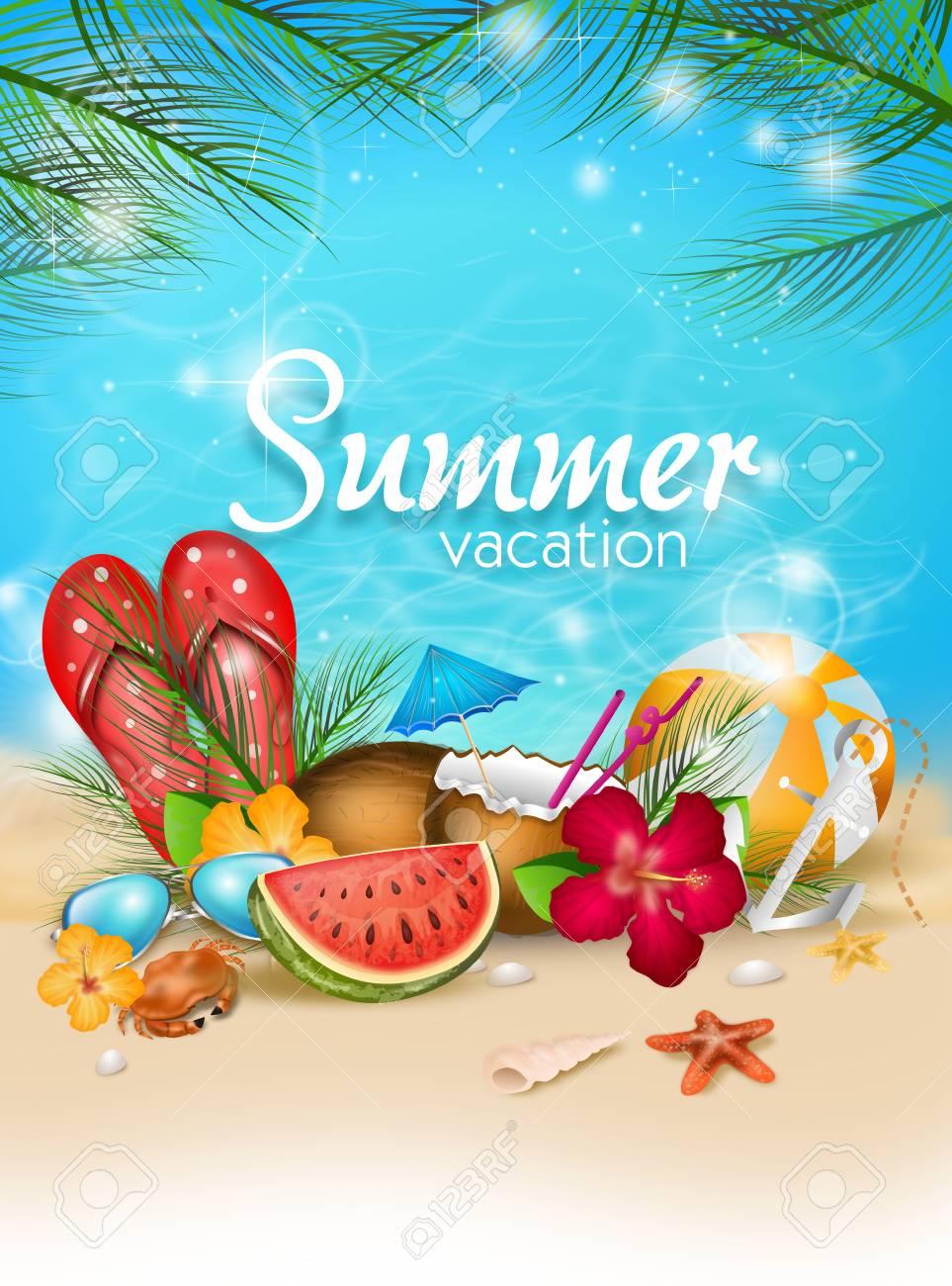夏の装飾とテキスト夏休み夏ポスターのイラスト の写真素材画像素材