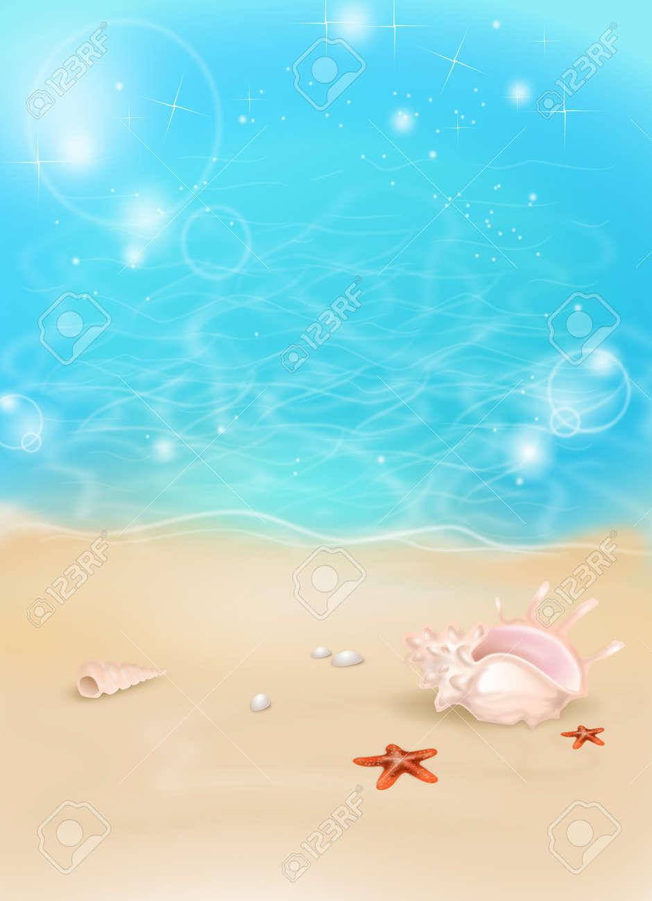砂浜のビーチと海辺夏背景のイラスト ロイヤリティーフリーフォト