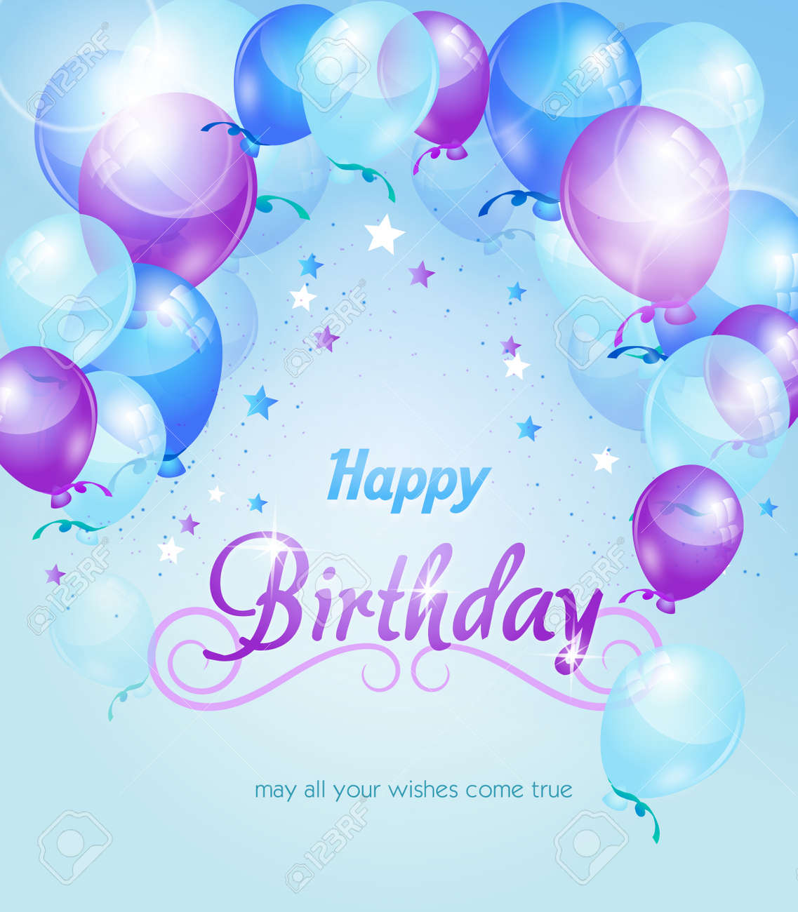 Blue Purple Birthday Background With Balloons And Text
