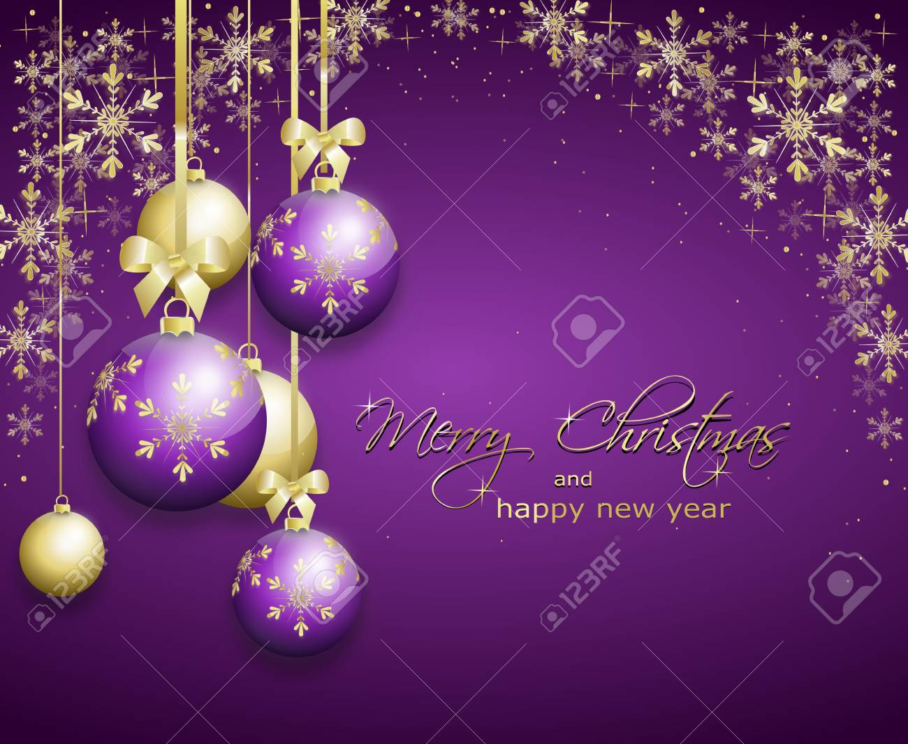 purple christmas background decorated with golden christmas bulbs