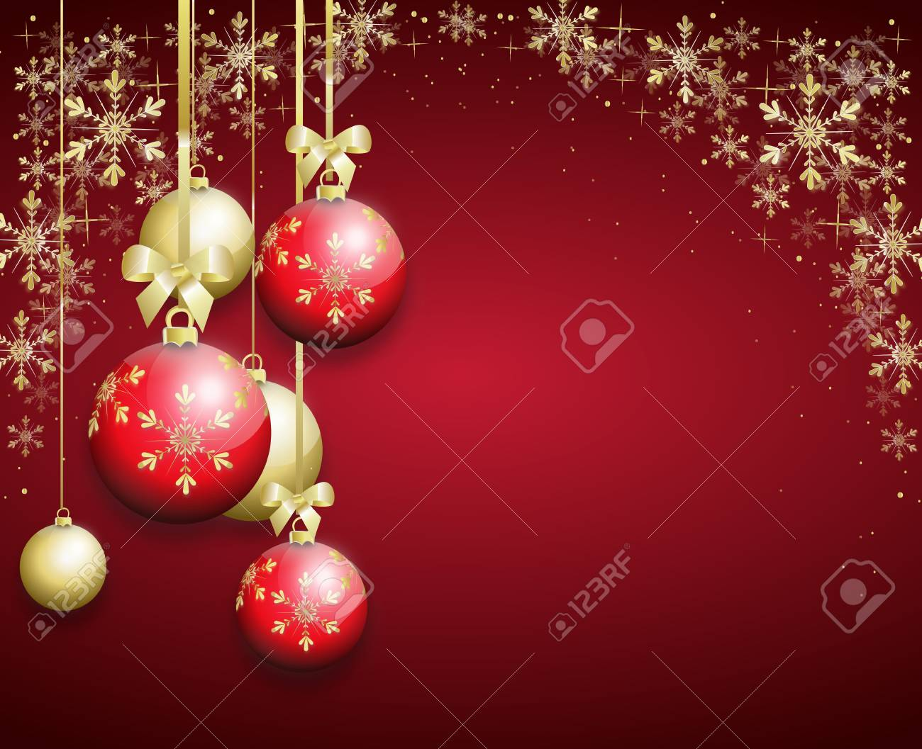 Christmas Bulbs.Red Christmas Background Decorated With Golden Christmas Bulbs