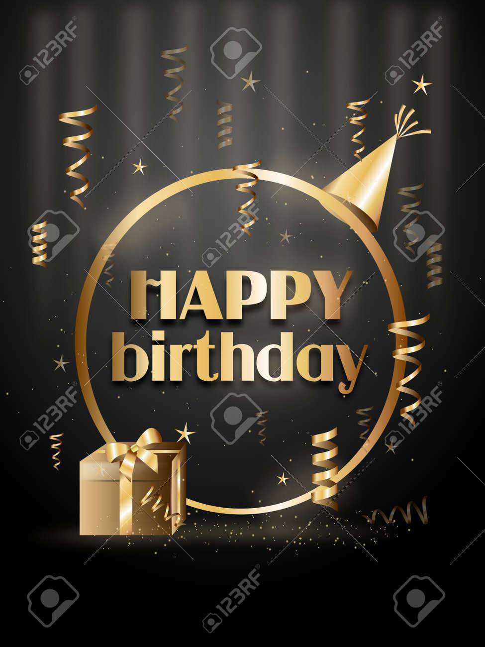Golden Black Happy Birthday Greeting Card Illustration