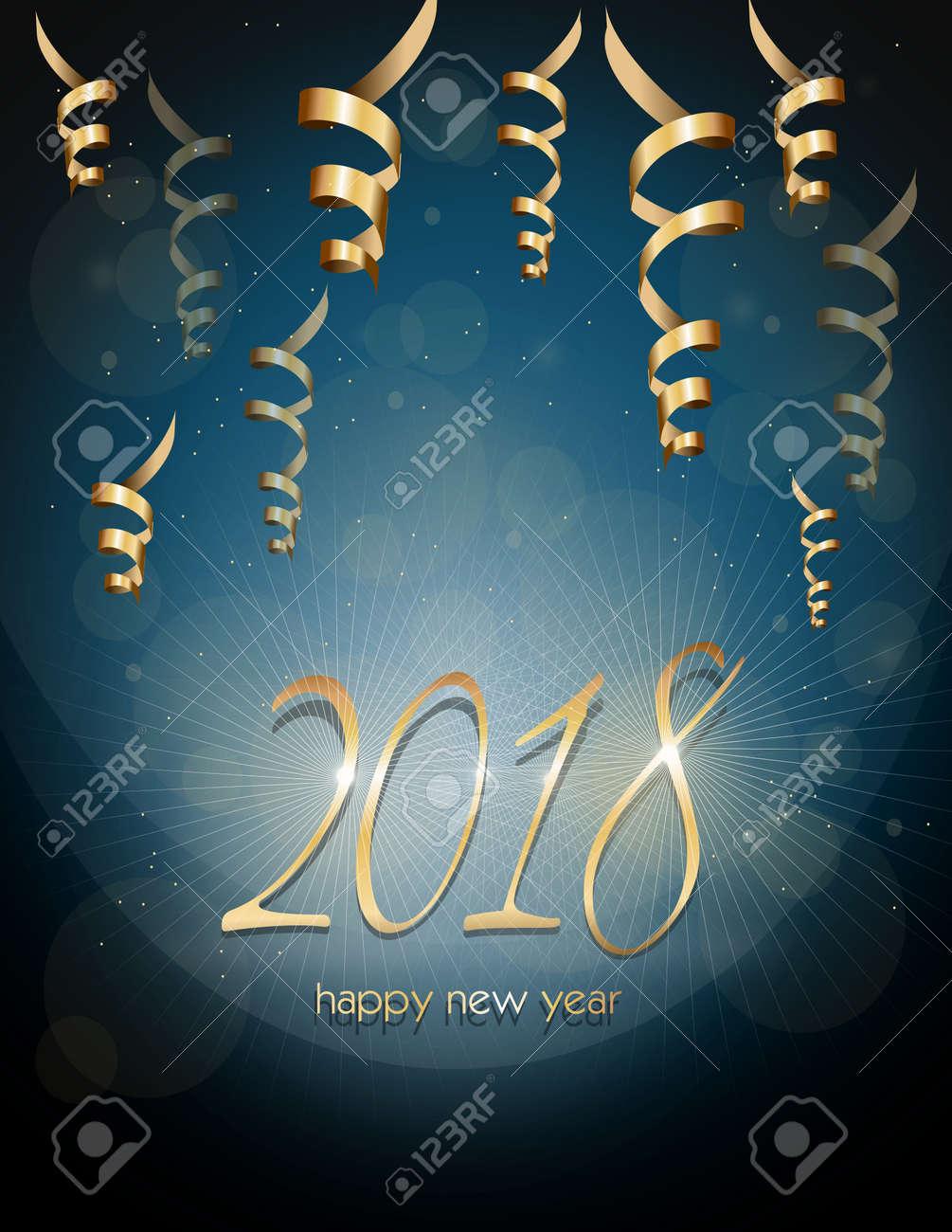 Illustrazione di biglietto di auguri per il felice anno nuovo 2018 Archivio Fotografico - 85423377