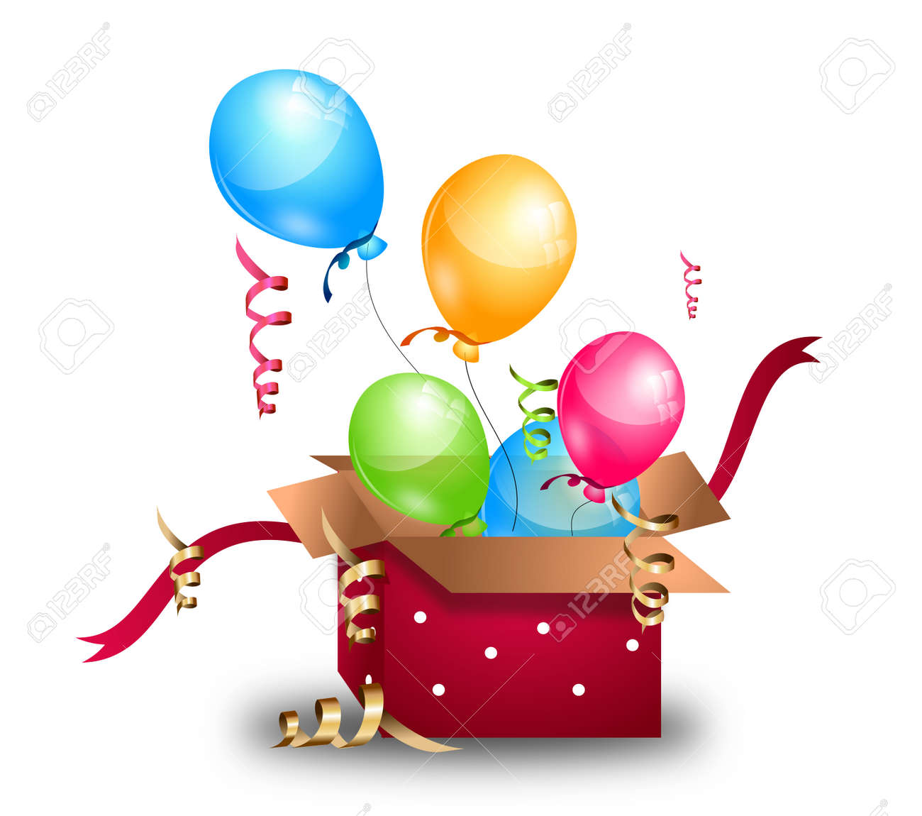Illustration Of Open Gift Box With Flying Birthday Balloons Stock