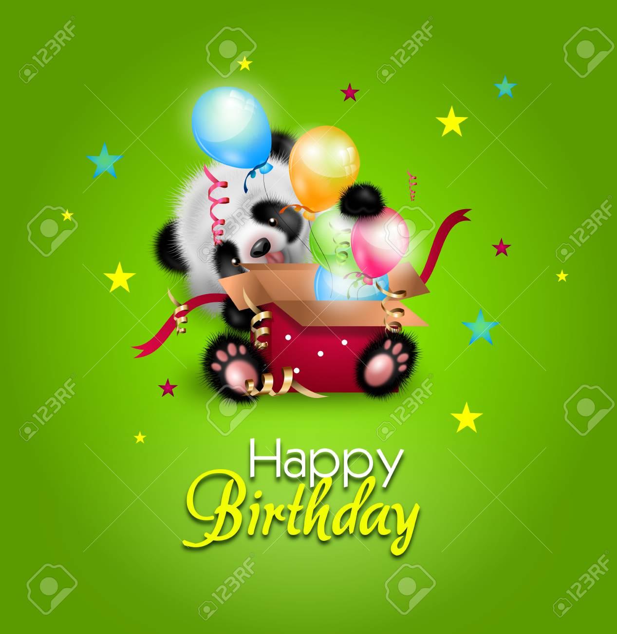 Illustration of happy birthday greeting card with cute illustration of happy birthday greeting card with cute illustration of panda stock illustration 88165468 kristyandbryce Images
