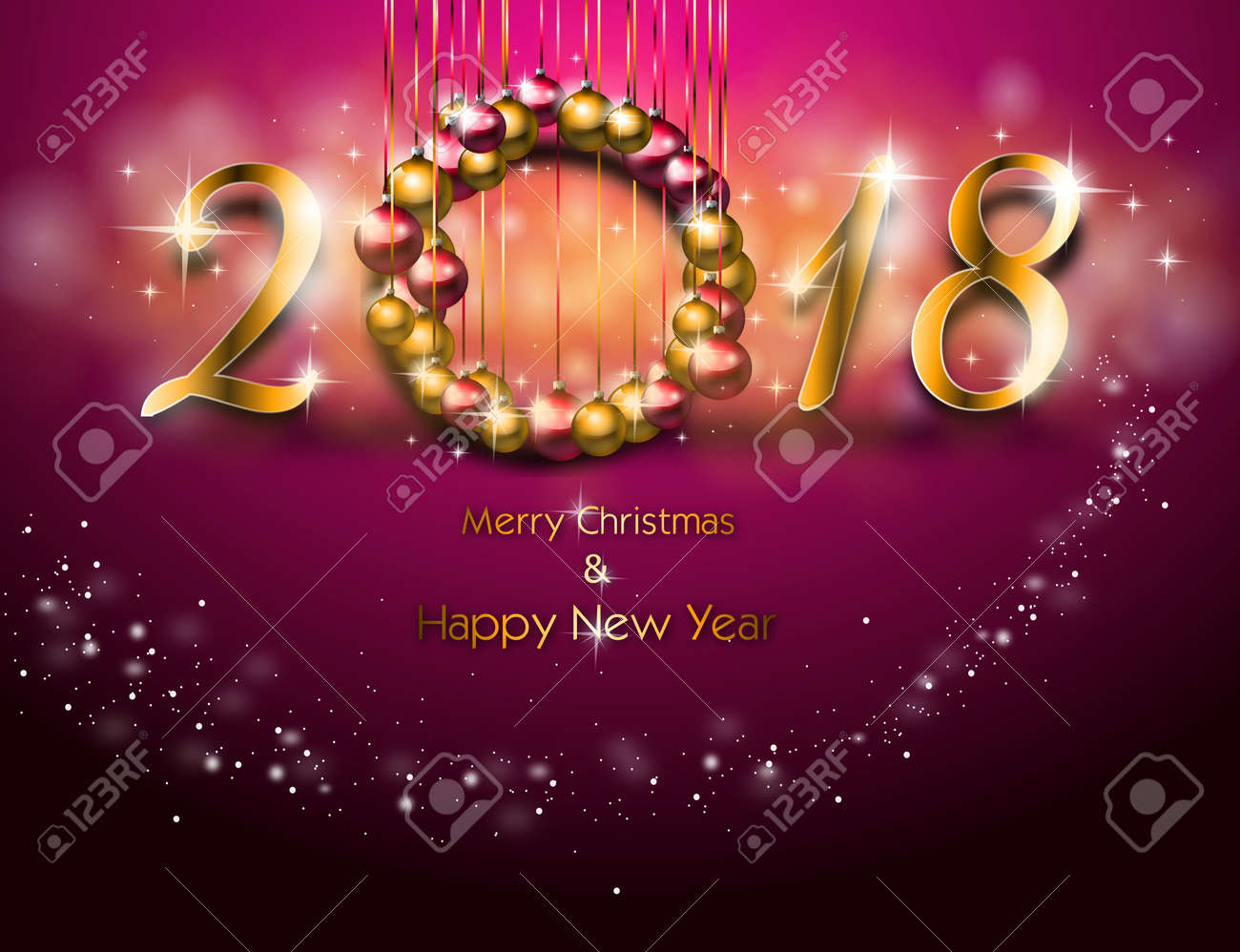 Illustration Of Happy New Year Greeting Card In Pink Color Stock ...