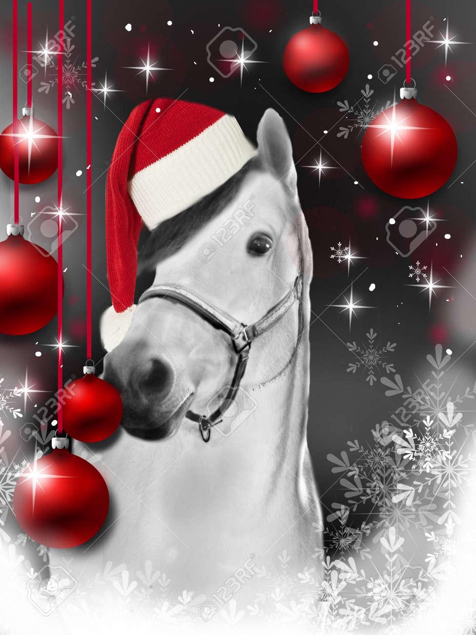Belle Carte De Voeux De Noël Avec Des Ampoules De Cheval Et De