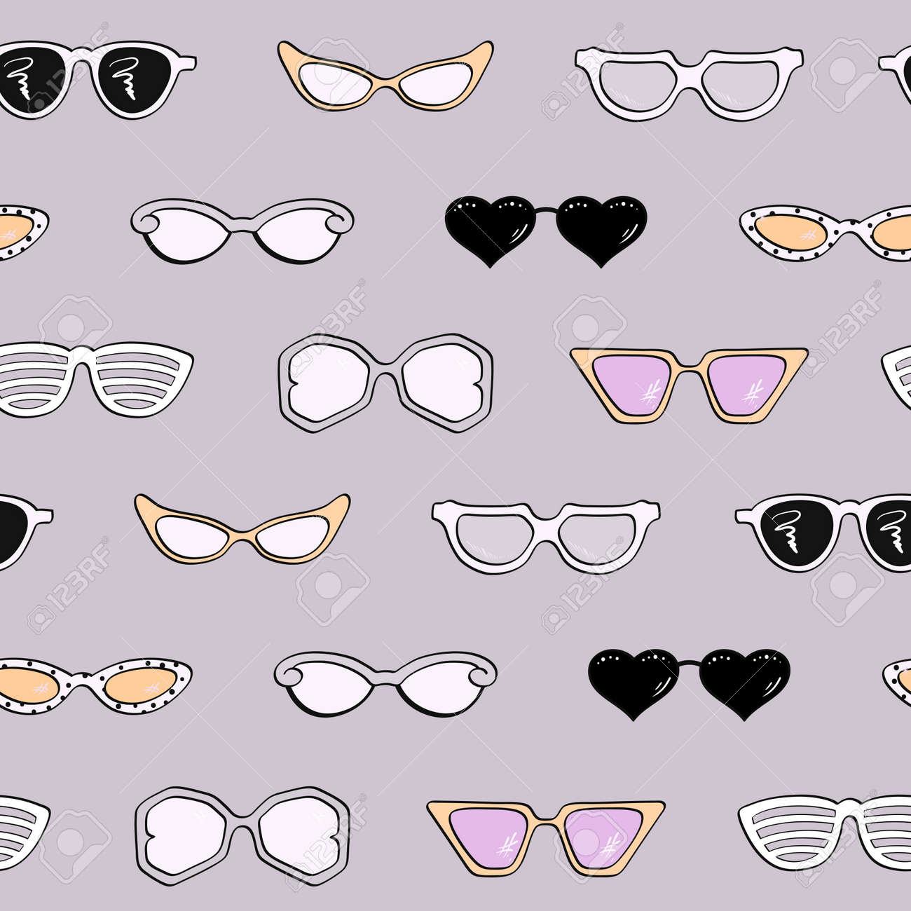 Patrón Sin Fisuras, Las Mujeres De Moda Las Gafas De Sol Aislados ...
