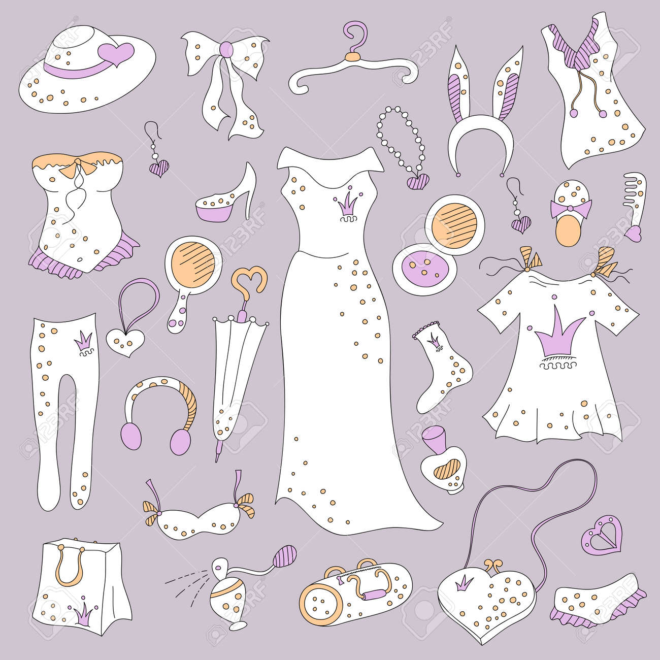 32eb2fe13d7a5 Stylish hand drawn composition of women related fashion items, shopping  madness, vector set Stock