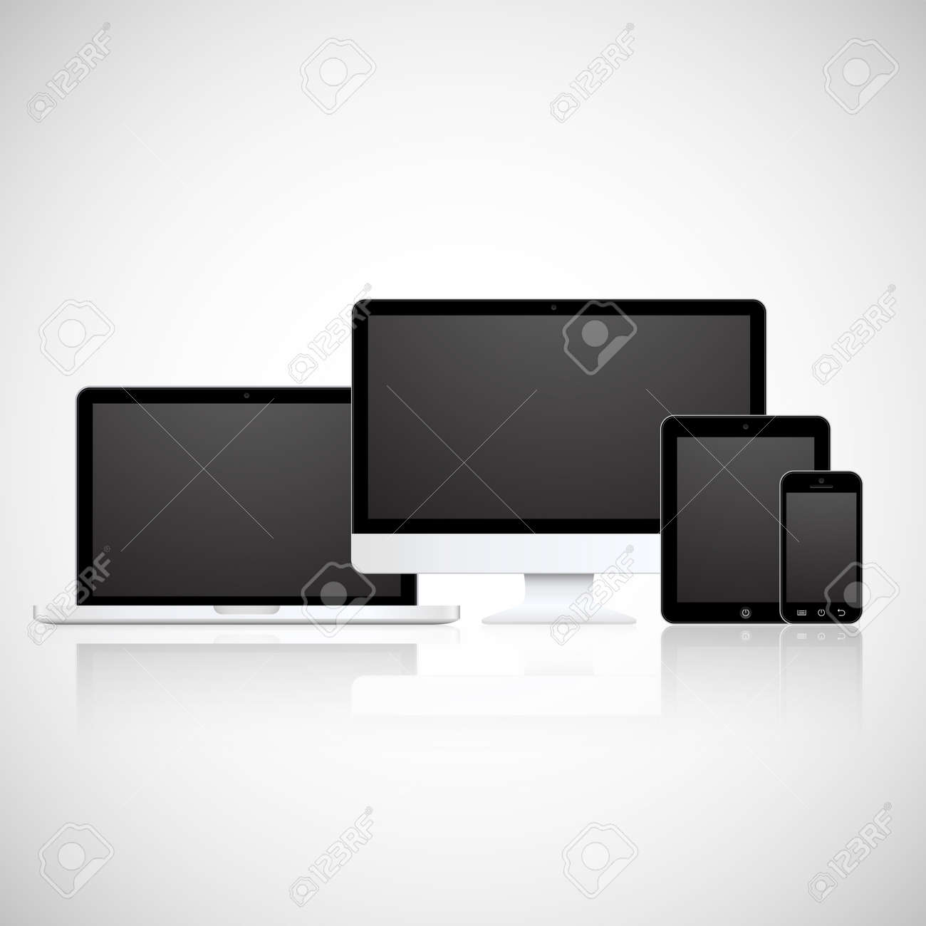 Realistic vector laptop, tablet computer, monitor and mobile phone template Stock Vector - 22753391