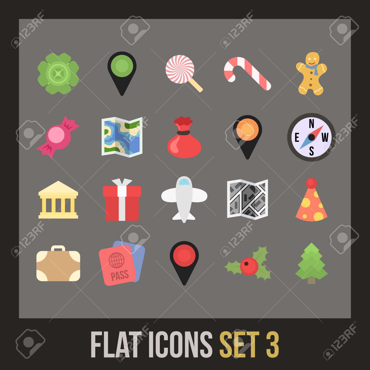 Flat icons set 3 - holiday collection Stock Vector - 24510928