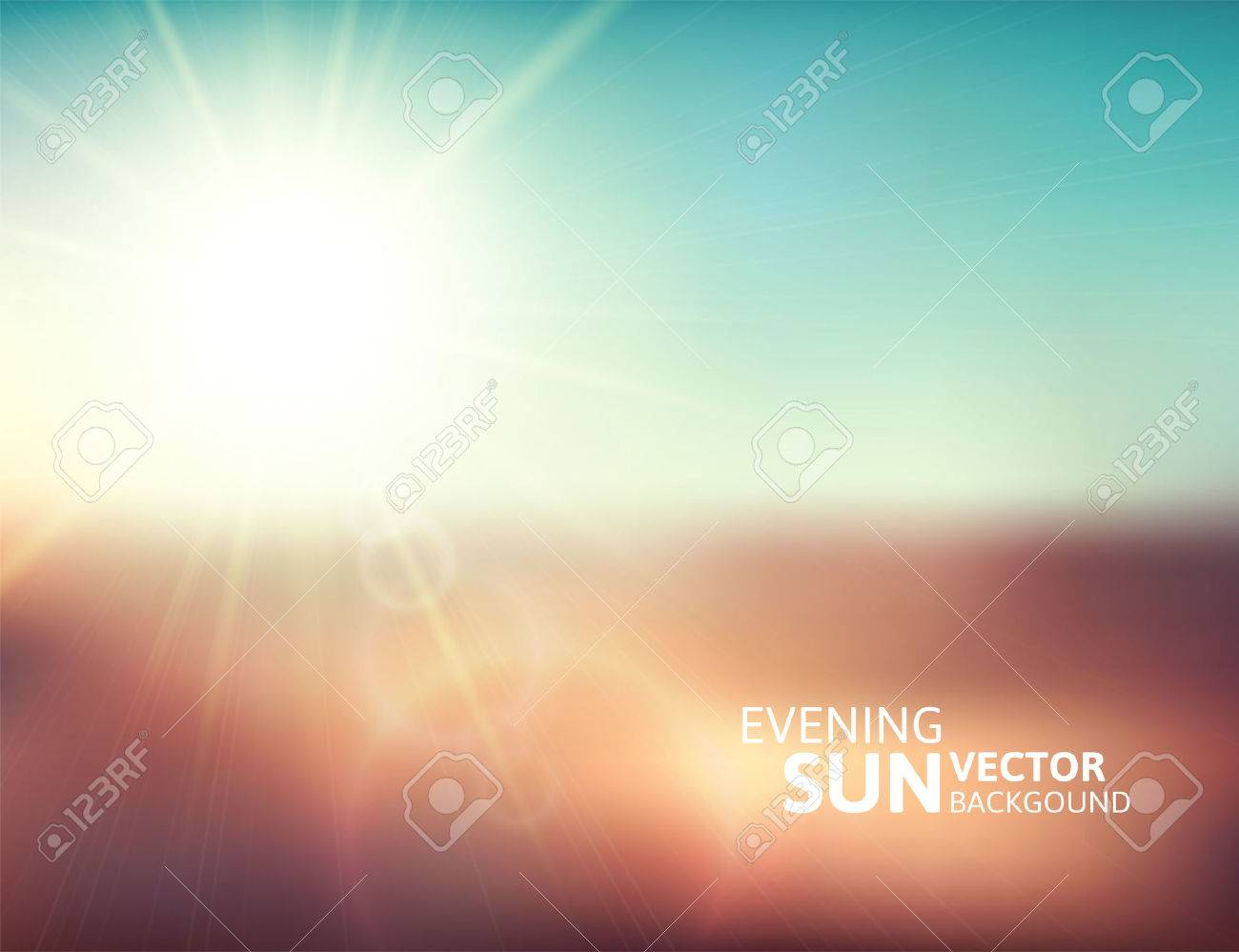 Blurry evening scene with brown field, sun burst, blue and green blur sky, vector illustration - 27200483