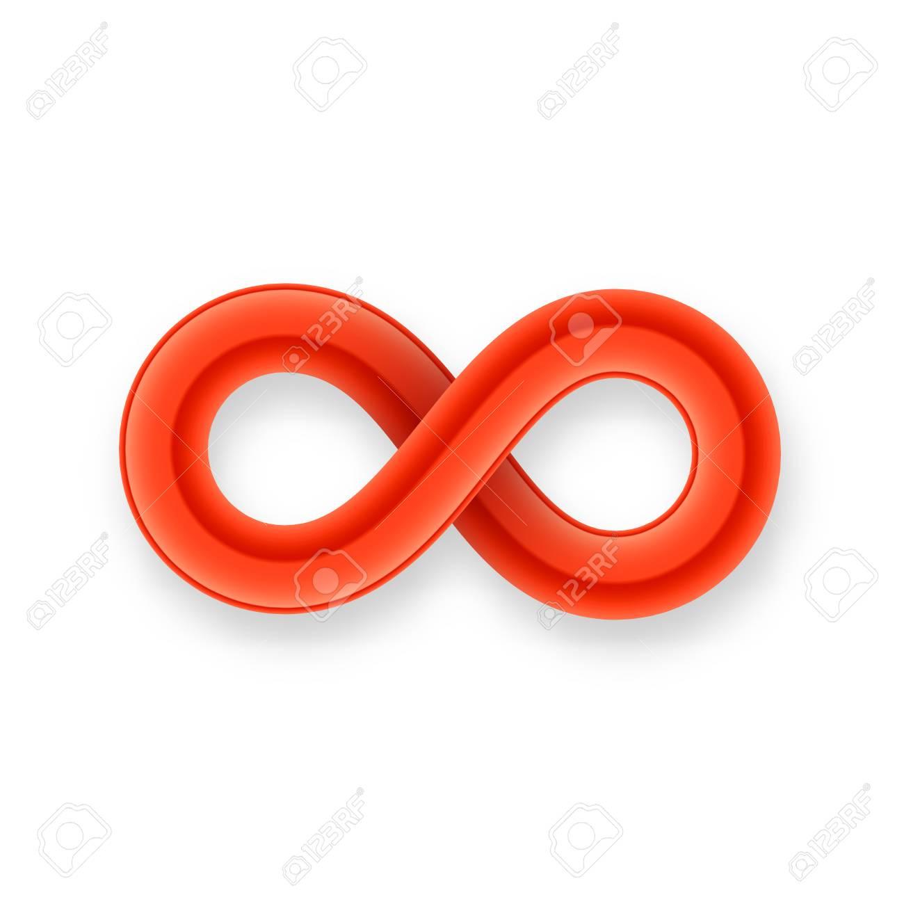 Red Unendlichkeitssymbol Symbol Aus Glänzenden Draht Mit Schatten ...