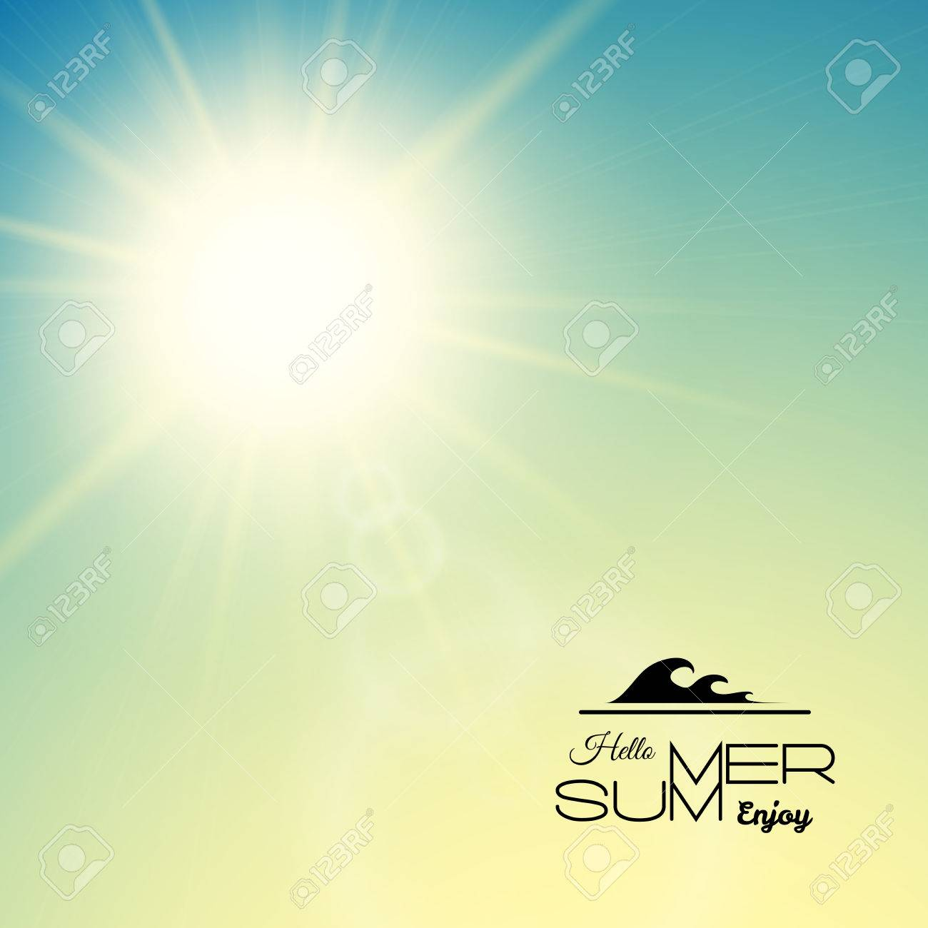 Summer background with a summer sun burst with lens flare, green sunset vector illustration - 46156298