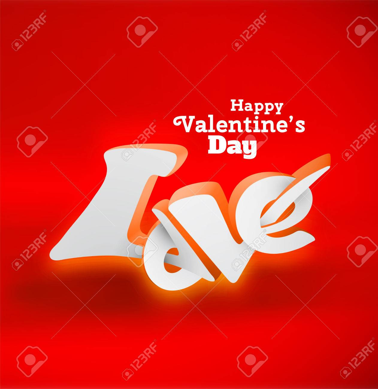 Happy Valentines Day 3d Love Lettering Use For Greeting Card