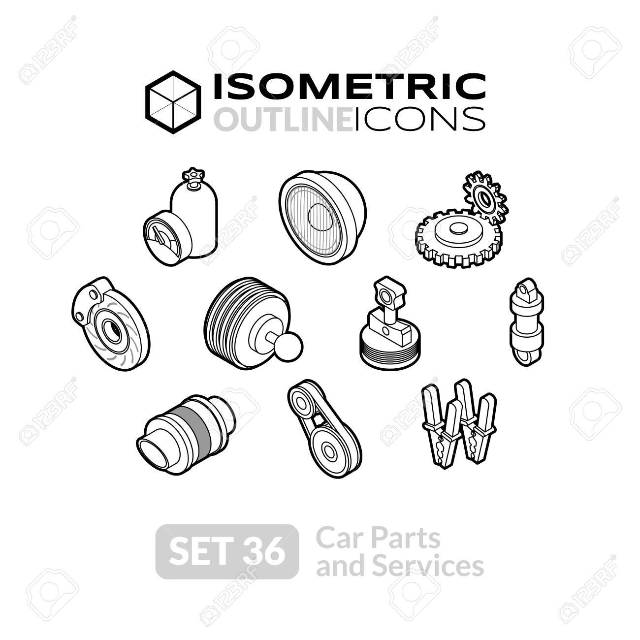 Isometric Outline T Icons, 3D Pictograms Vector Set 36 - Car ...