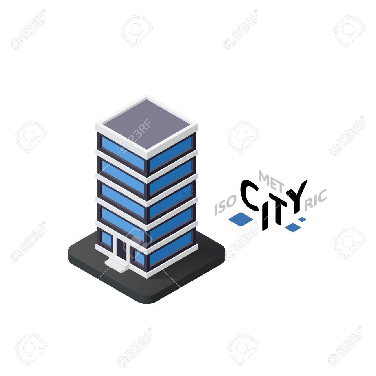 Isometric Office Building Flat Icon Isolated On White Background
