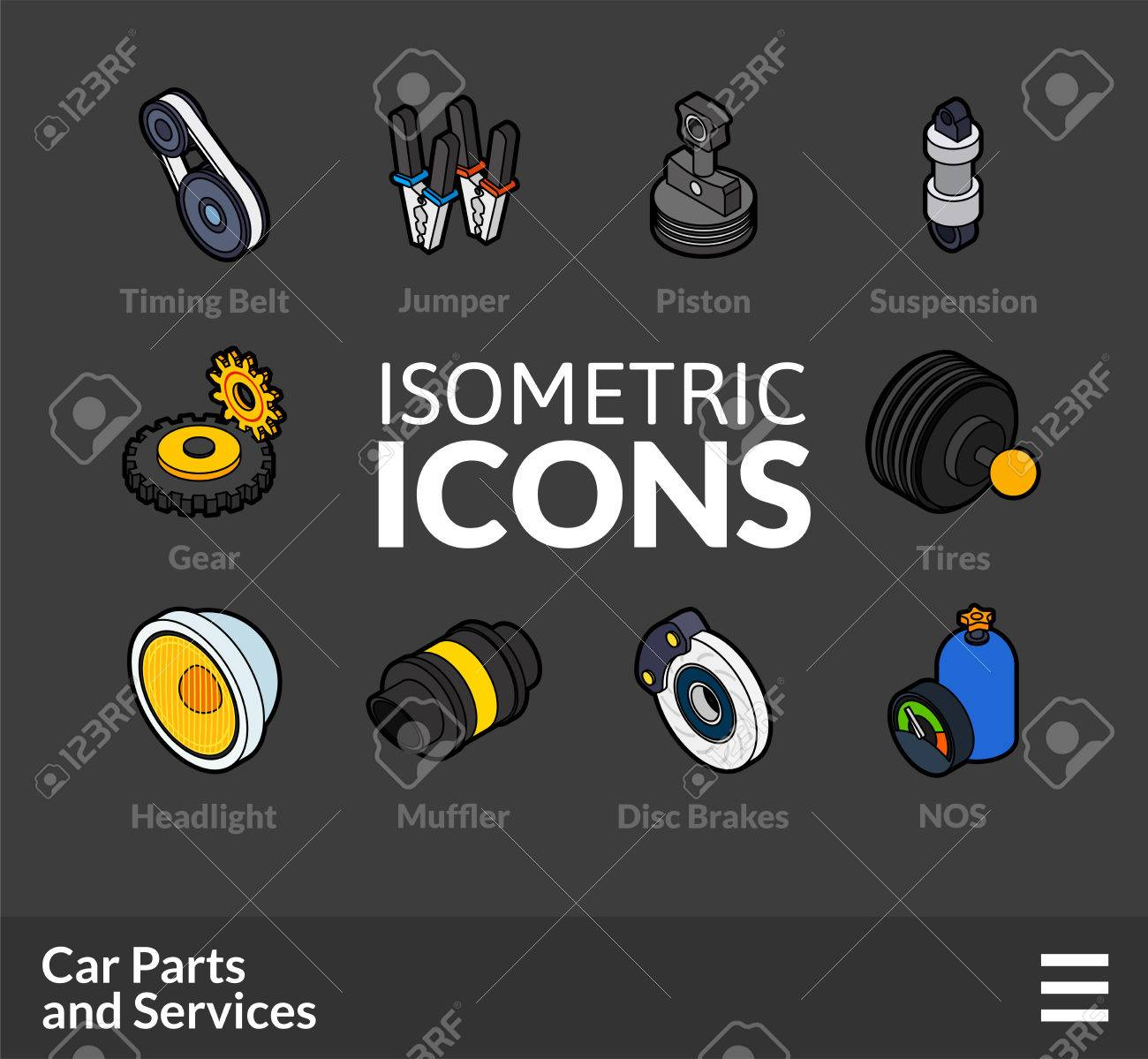 Isometric Outline T Icons 3d Pictograms Vector Set 36 Car