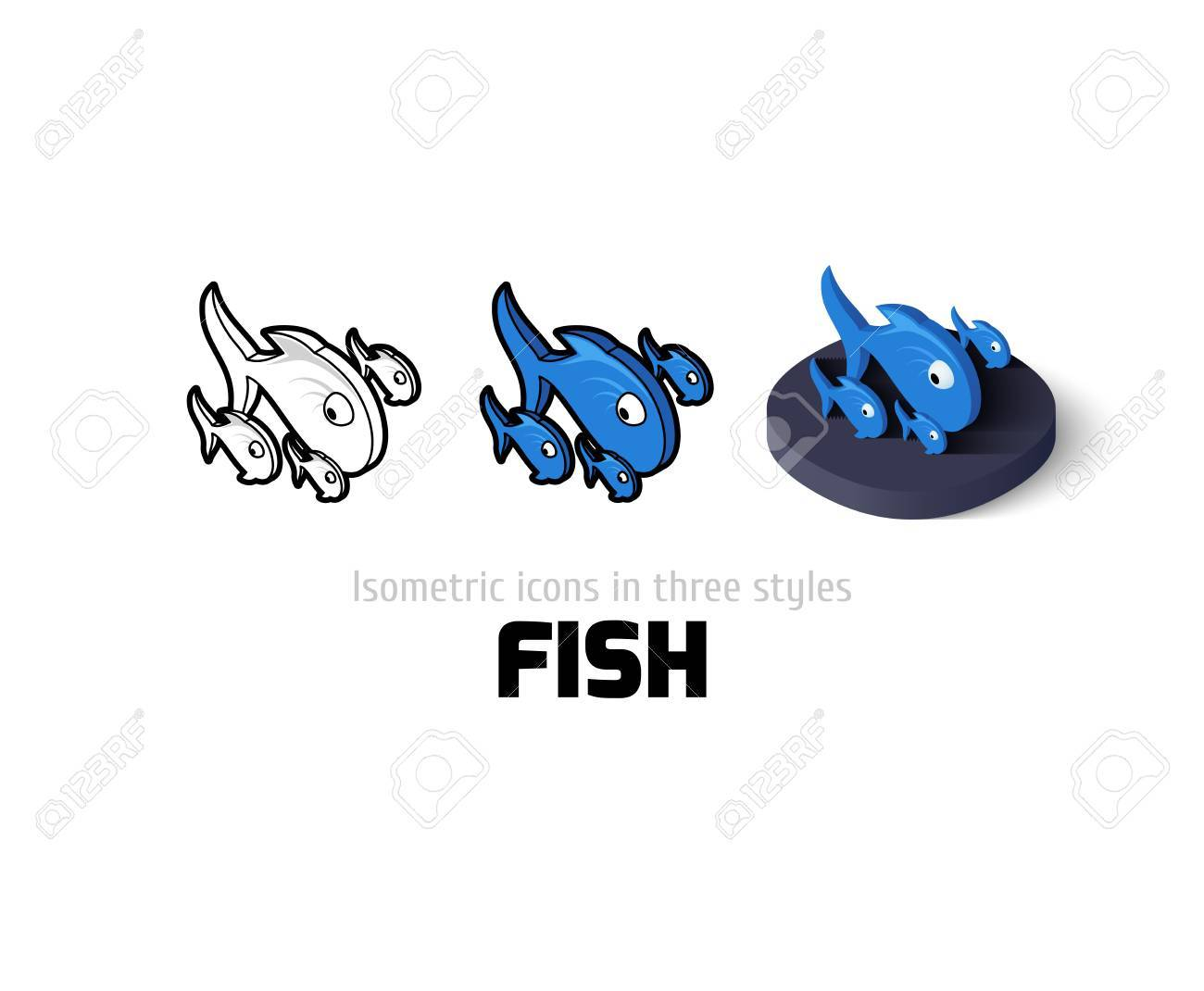 Fish Icon Vector Symbol In Flat Outline And Isometric Style