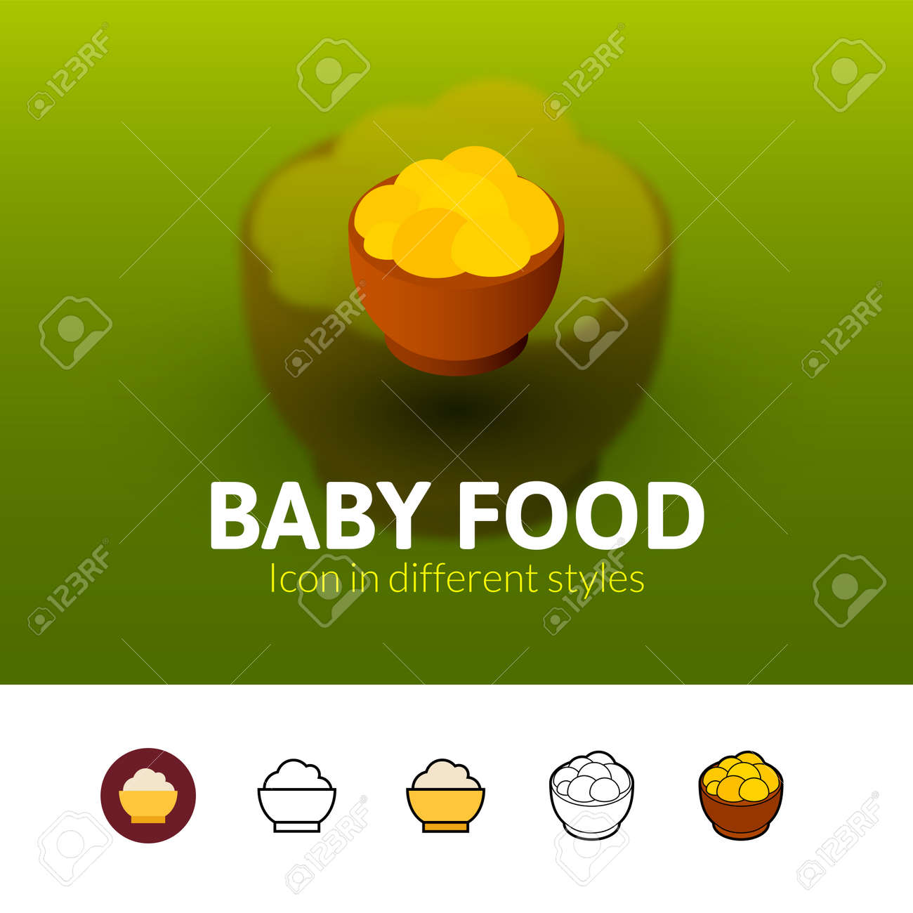 Baby Food Color Icon, Vector Symbol In Flat, Outline And Isometric ...