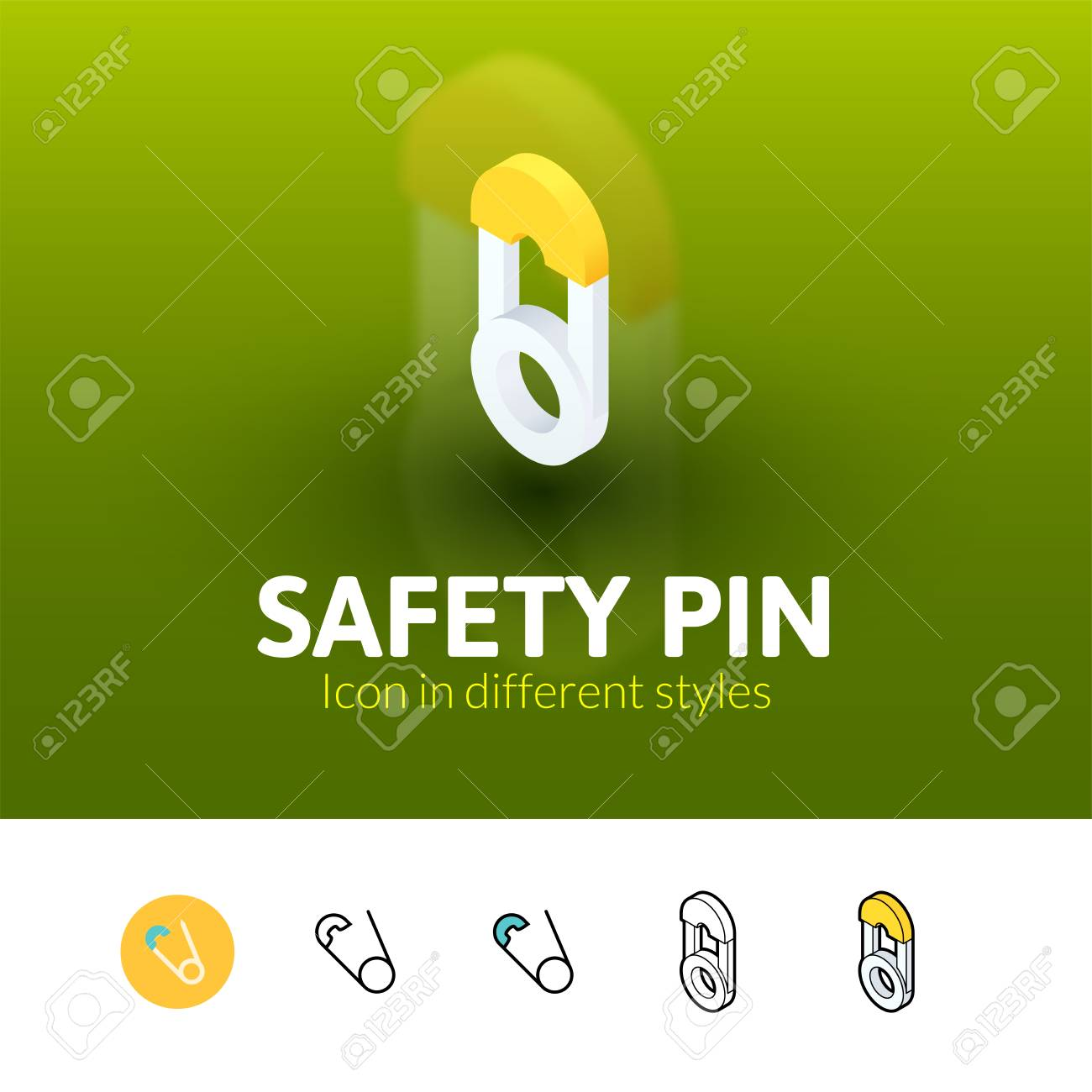 Safety Pin Color Icon, Vector Symbol In Flat, Outline And Isometric ...