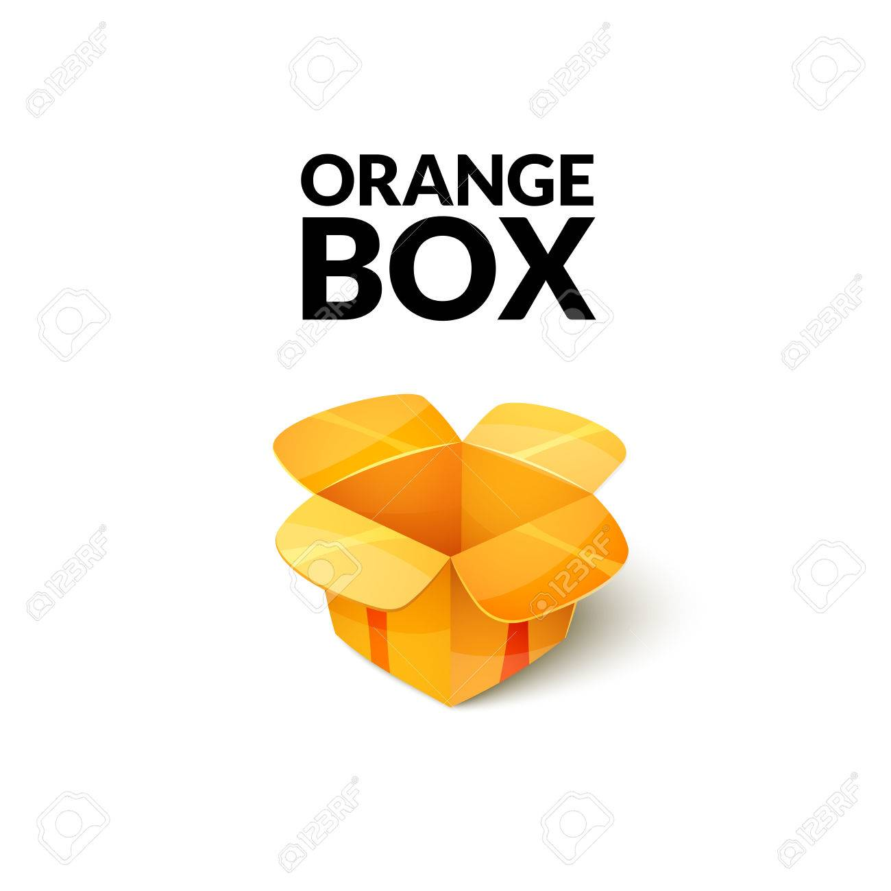 Empty Cardboard Packaging, Open Orange Box Icon In Cartoon Style ...