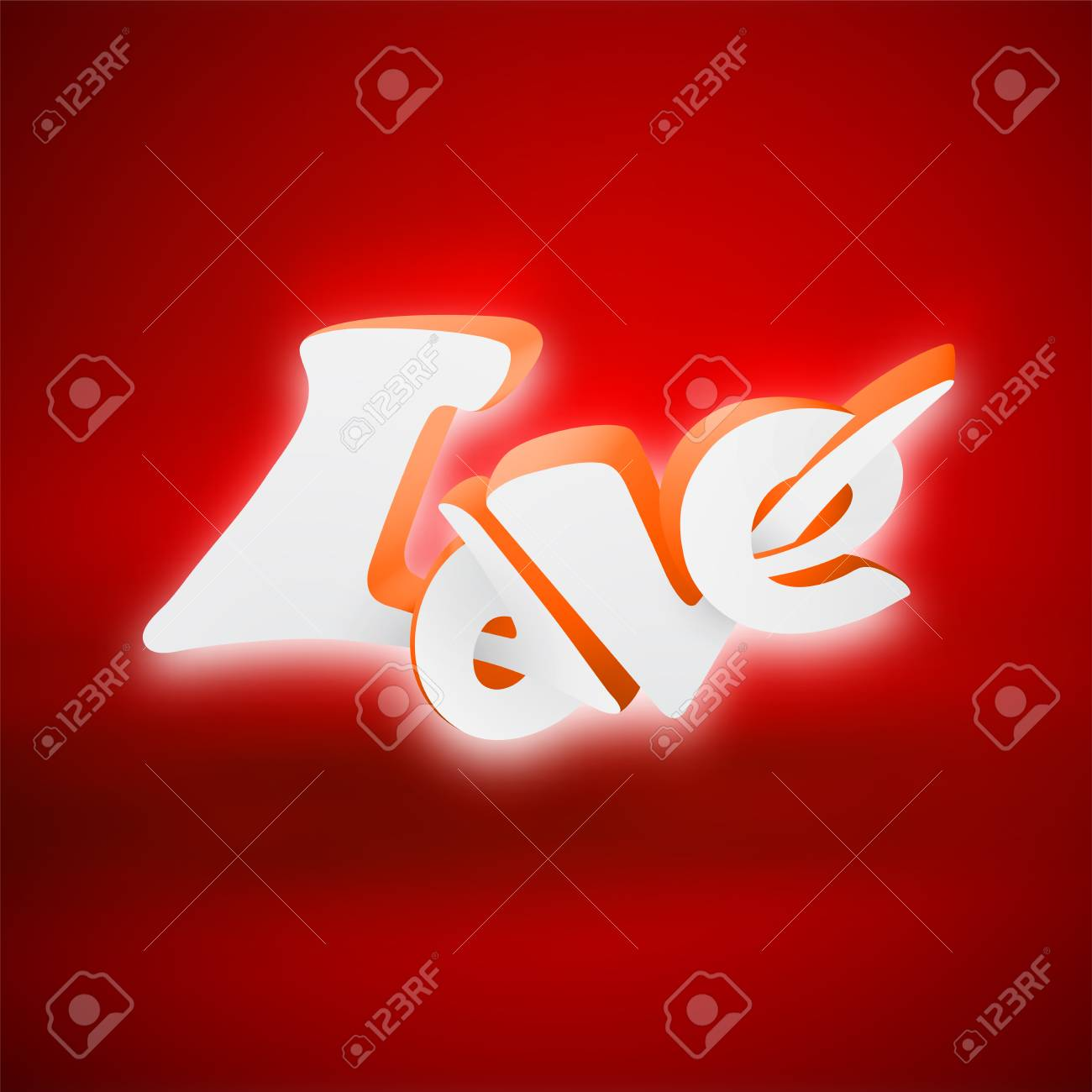 Happy Valentines Day 3D Love Lettering, Use For Greeting Card ...