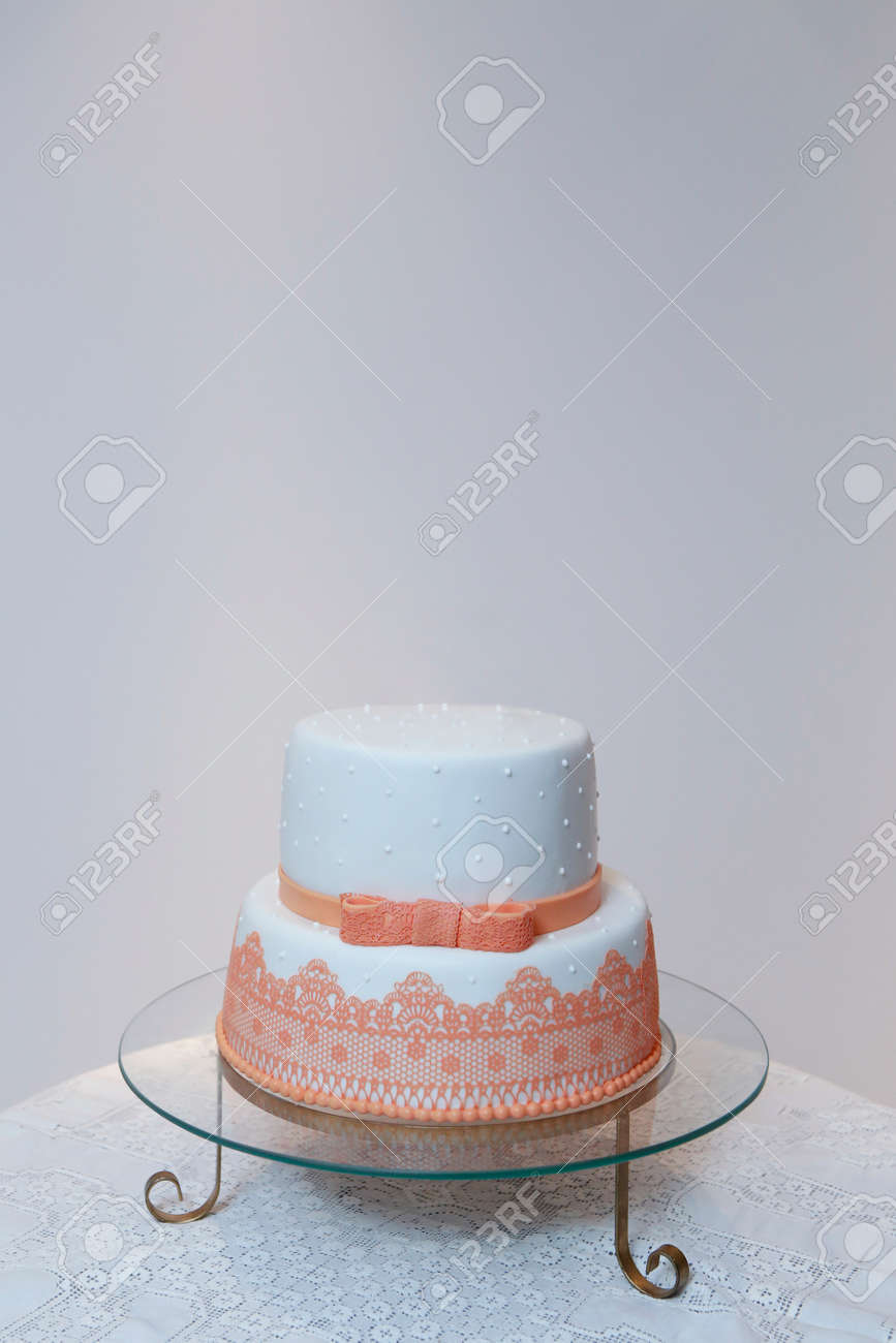 Elegant Birthday Cake With Lace And Orange Color Detail Delicious