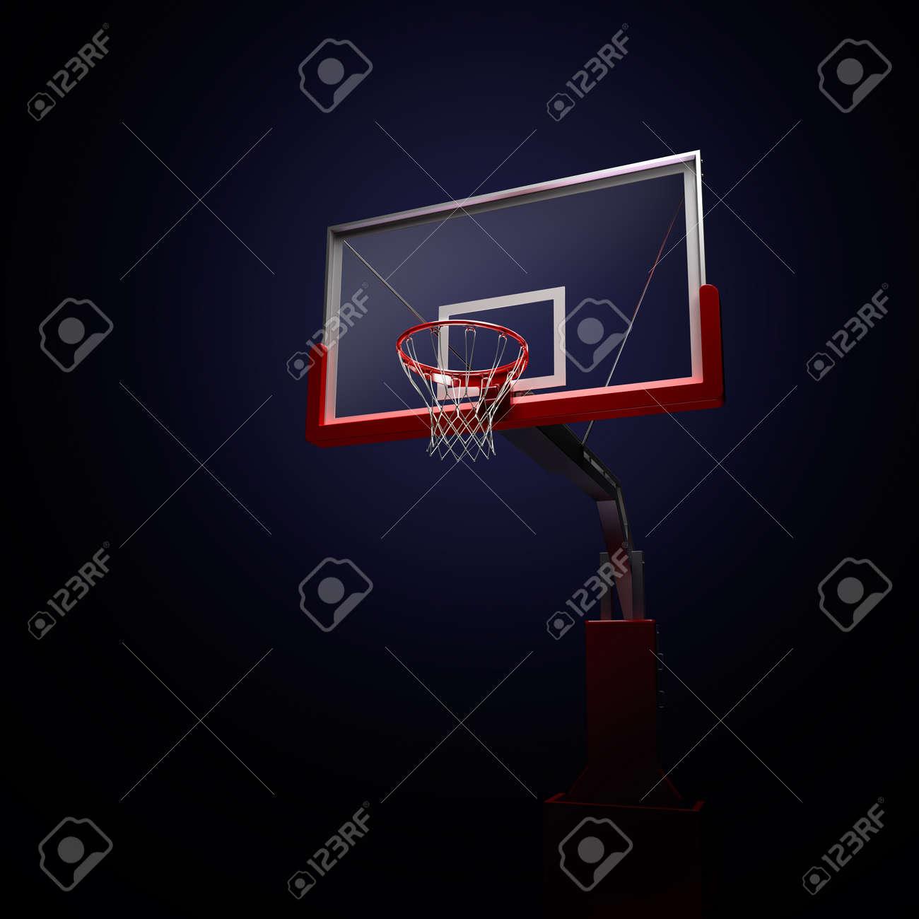 Red basketball houp in red . 3d render illustration on black background - 46314884