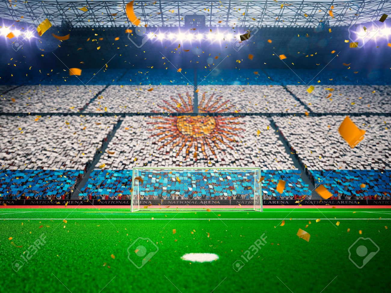 Flag Argentina of fans.Evening stadium arena soccer field championship win. Confetti and tinsel Blue Toning - 46315054