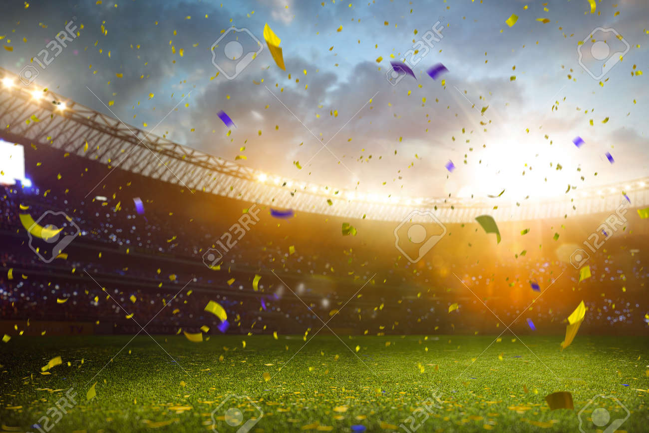 Evening stadium arena soccer field championship win. Confetti and tinsel . Yellow toning - 48378243