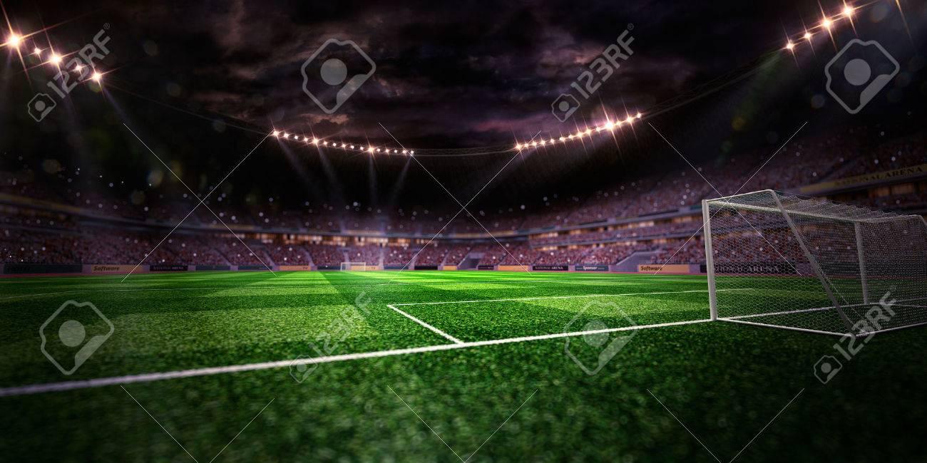 Night stadium arena soccer field gate inside yellow toning - 48378244