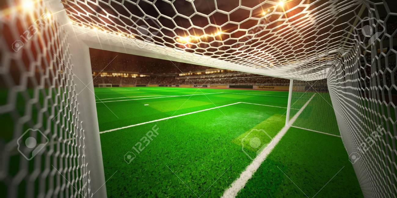 Night stadium arena soccer field championship win. Confetti and tinsel - 48378250