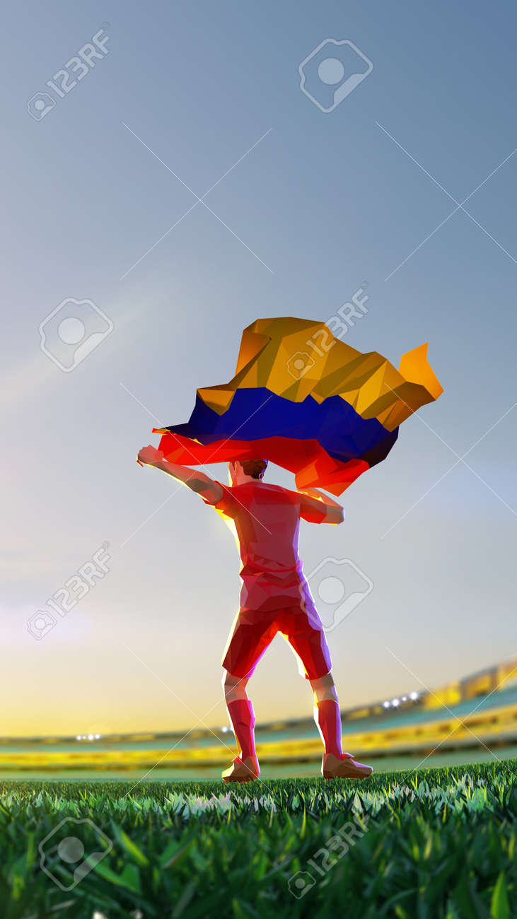 Soccer player after winner game championship hold flag of Armenia. polygon style 3d render illustration - 156089746