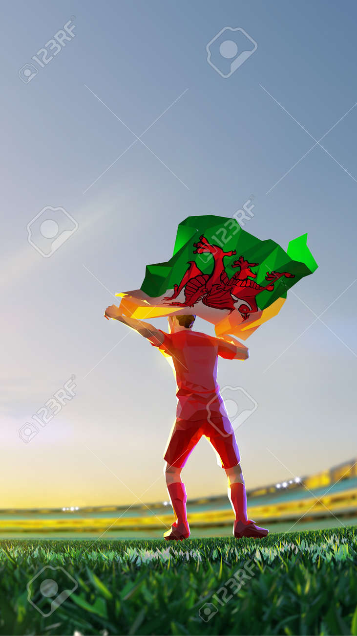 Soccer player after winner game championship hold flag of Wales. polygon style 3d render illustration - 156089748
