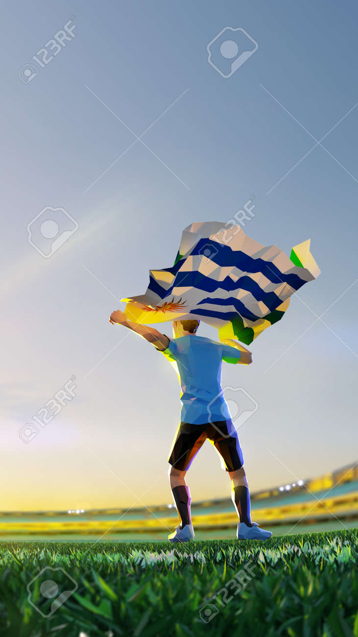 Soccer player after winner game championship hold flag of Uruguay . polygon style 3d render illustration - 156089749