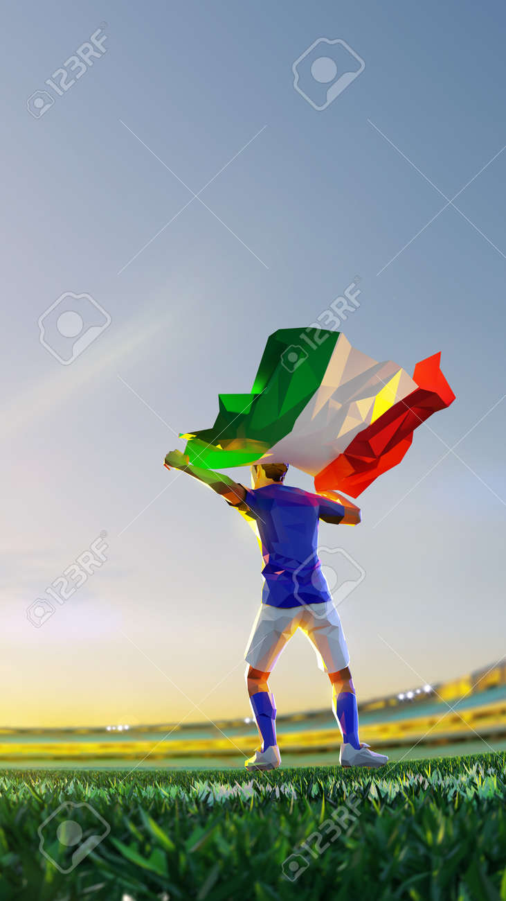 Soccer player after winner game championship hold flag of Italy. polygon style 3d render illustration - 156222592