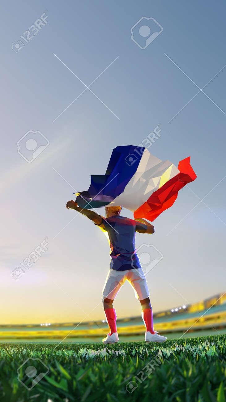 Soccer player after winner game championship hold flag of France. polygon style 3d render illustration - 156222594