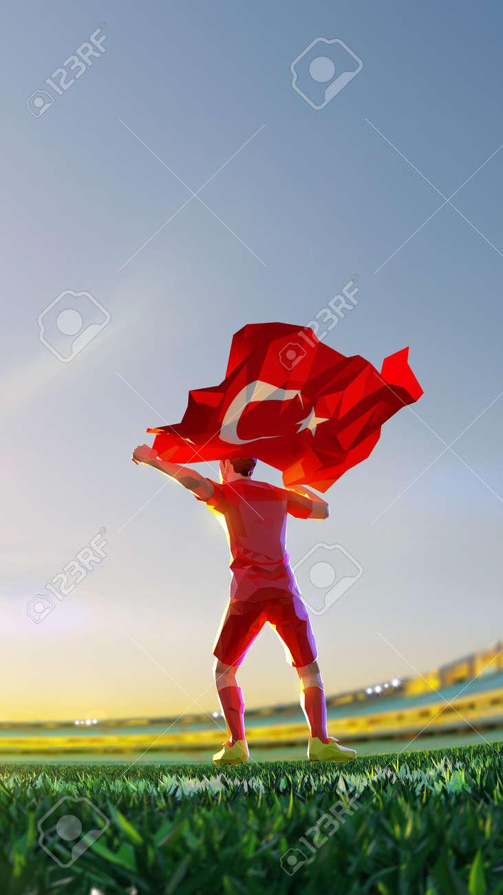 Soccer player after winner game championship hold flag of Turkey. polygon style 3d render illustration - 156788221