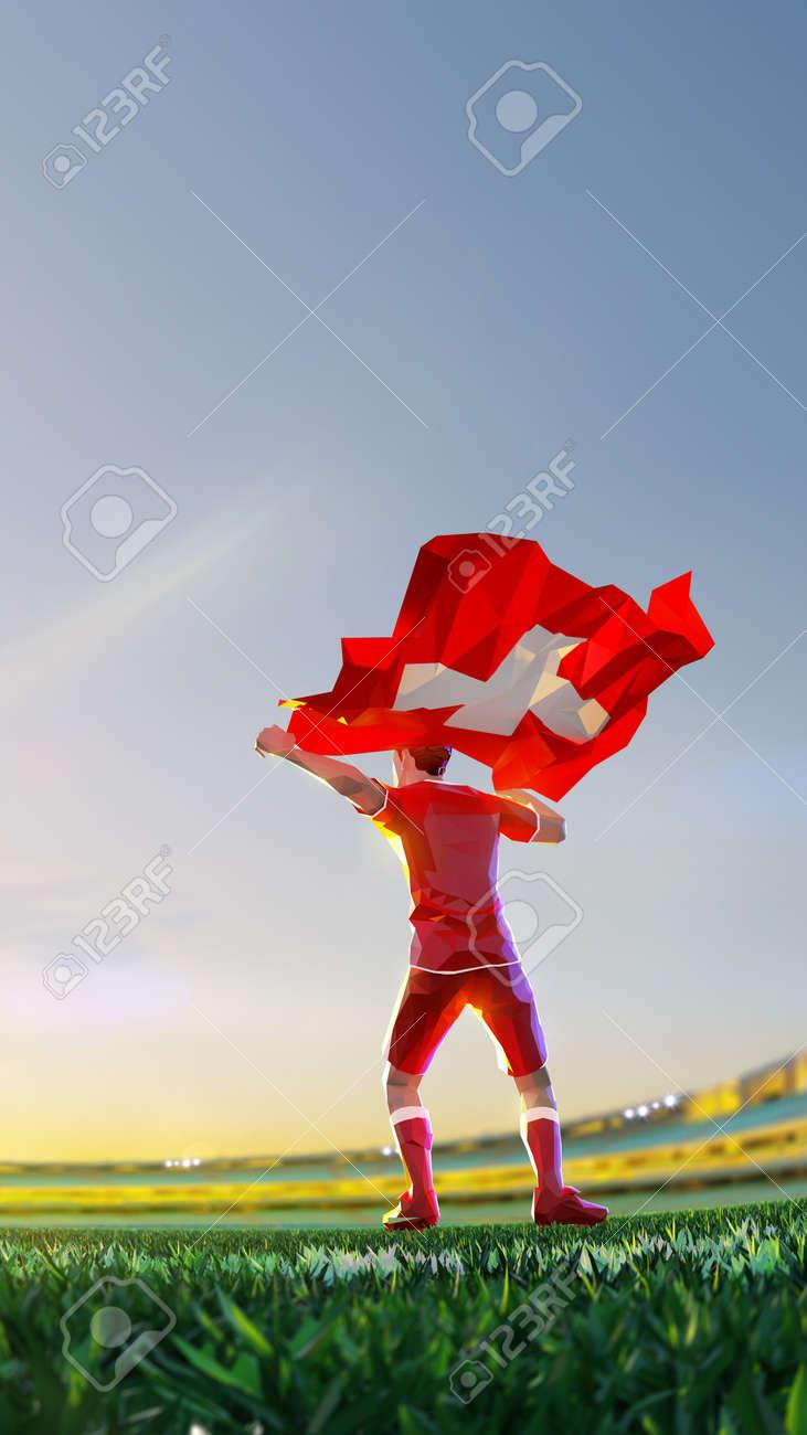 Soccer player after winner game championship hold flag of Switzerland. polygon style 3d render illustration - 156788243