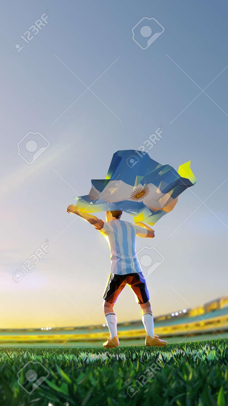 Soccer player after winner game championship hold flag of Argentina. polygon style 3d render illustration - 156788244