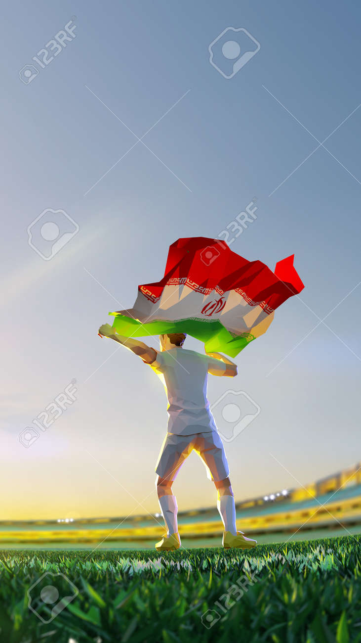Soccer player after winner game championship hold flag of Iran. polygon style 3d render illustration - 156788245