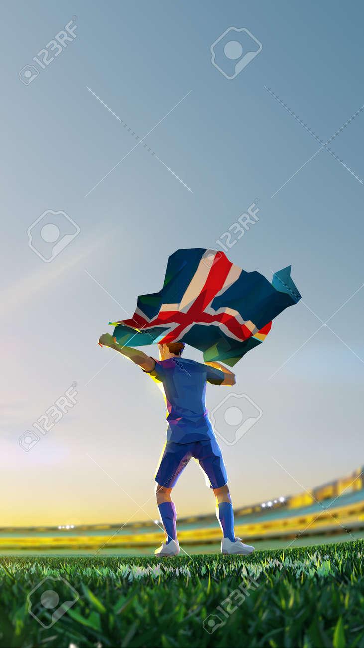 Soccer player after winner game championship hold flag of. Island polygon style 3d render illustration - 156788248