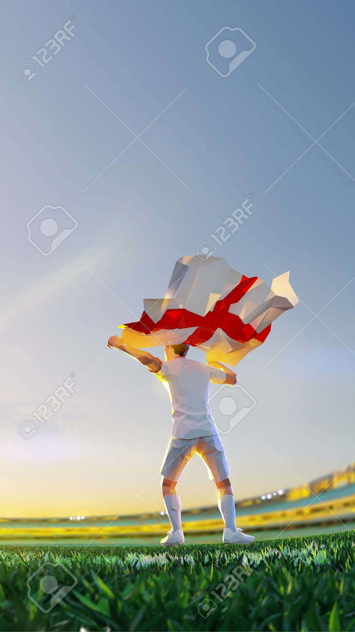 Soccer player after winner game championship hold flag of England. polygon style 3d render illustration - 156788249