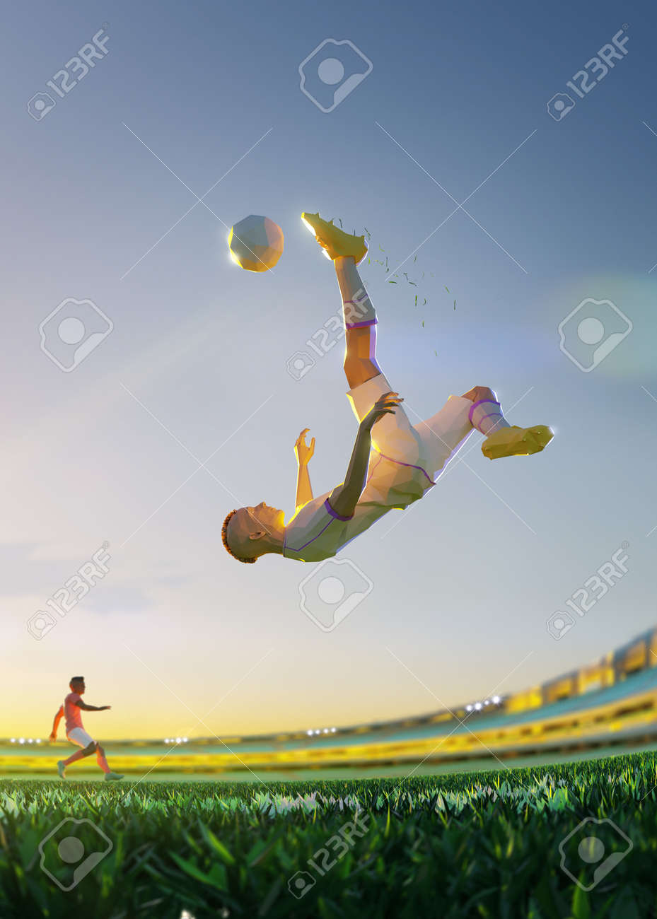 Soccer player in attack. polygon style 3d render illustration Vertical picture - 156788250
