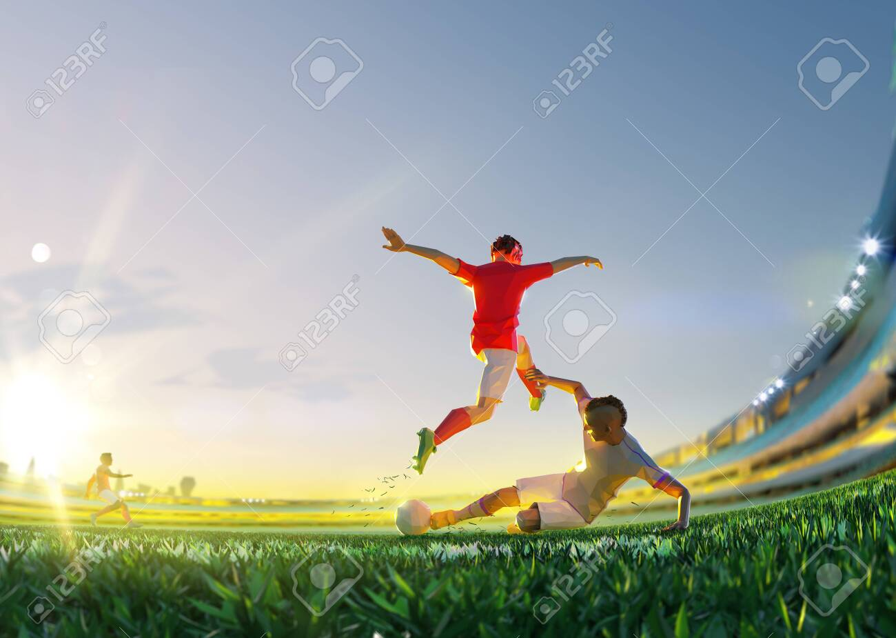 Soccer player in attack. polygon style 3d render illustration - 156788252